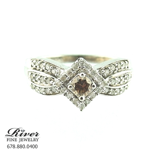 14k White Gold Fancy Engagement Ring 0.75Ct Total Weight
