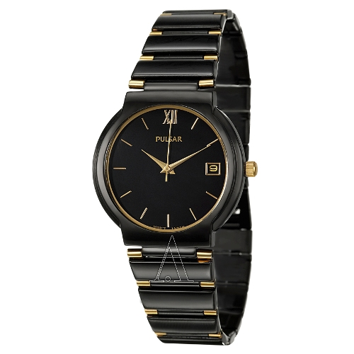 Pulsar Men's PXH351 Dress Black Ion Plated Stainless Steel Watch