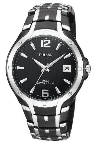 Pulsar Men's  Dress Sport Black Ion Plated Stainless Steel Watch