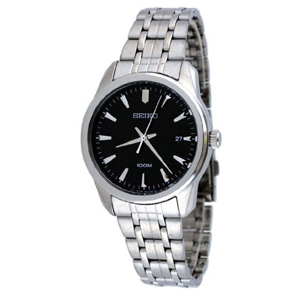 Seiko Casual Black Dial Stainless Steel Mens Watch SGEG05