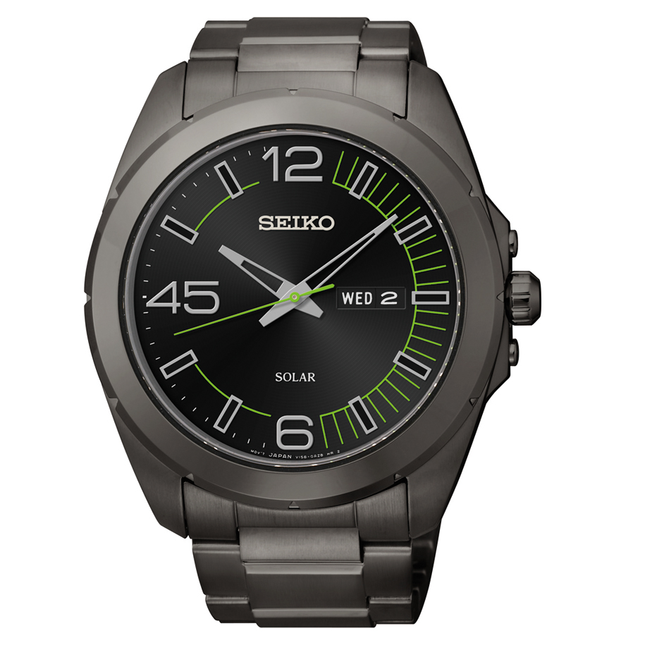 Seiko Solar Black Dial Black Rubber Strap Mens Watch SNE275