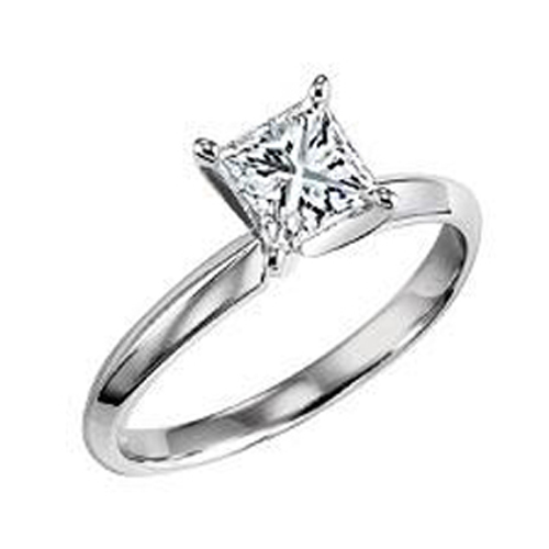 14k White Gold Princess Diamond Solitaire Engagement Ring