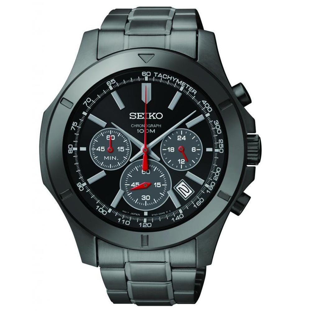 SEIKO Black Ion Chronograph Watch SSB119
