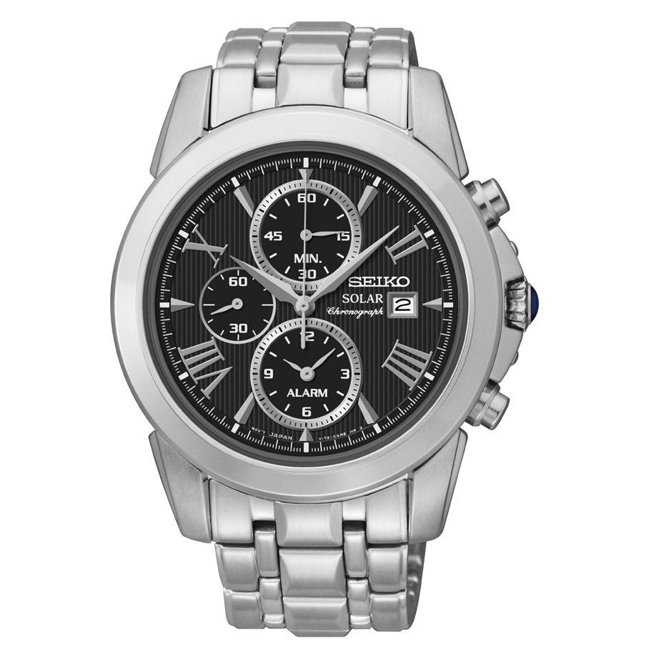 Seiko Solar Chronograph Black Dial Stainelss Steel Mens Watch SSC193