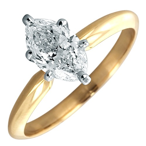 14k Yellow Gold Marquise Diamond Solitaire Engagement Ring