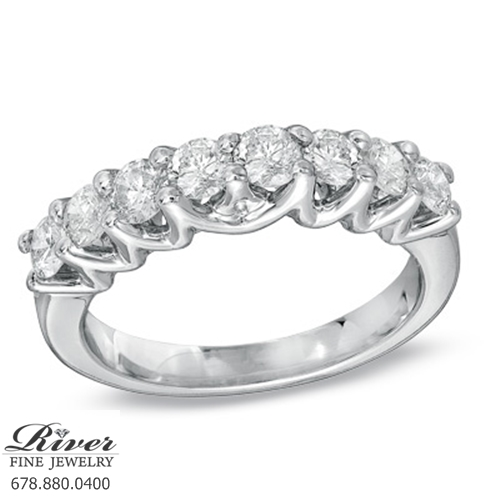 14k White Gold Ladies Diamond Wedding Ring 0.80Ct Total Weight