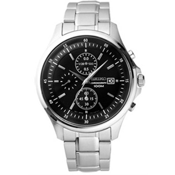 Seiko Black Dial Chronograph Stainless Steel Mens Watch SNDE19