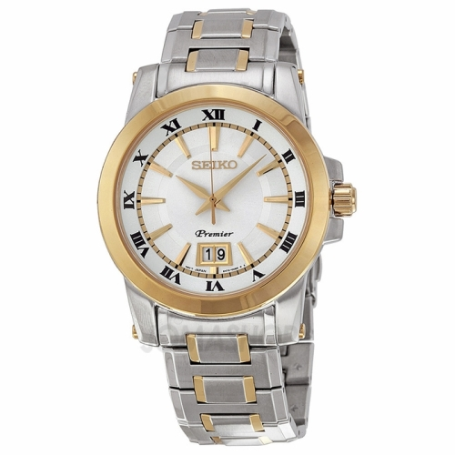 Seiko Premier Silver Dial Two-tone Mens Watch