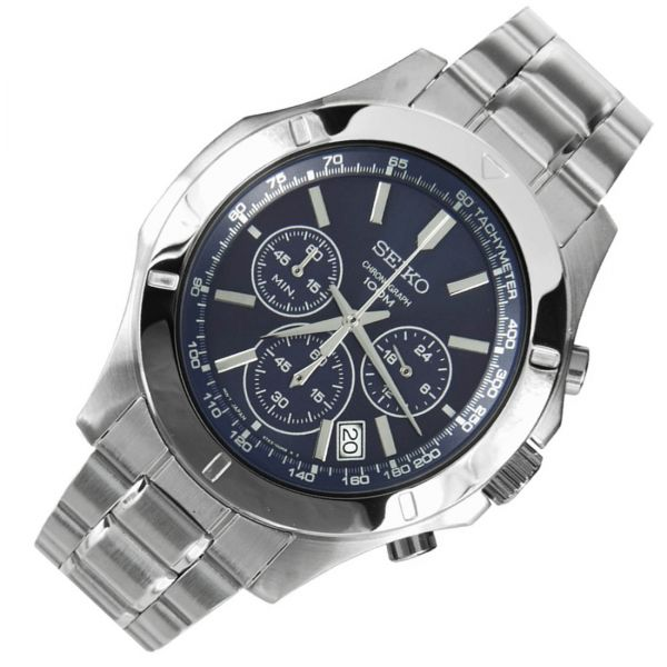 Seiko Chronograph Blue Dial Stainless Steel Mens Watch SSB103