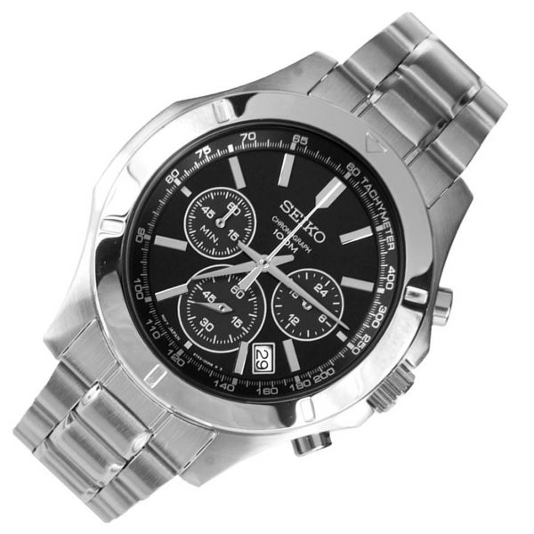 Seiko Chronograph Black Dial Stainless Steel Mens Watch SSB105